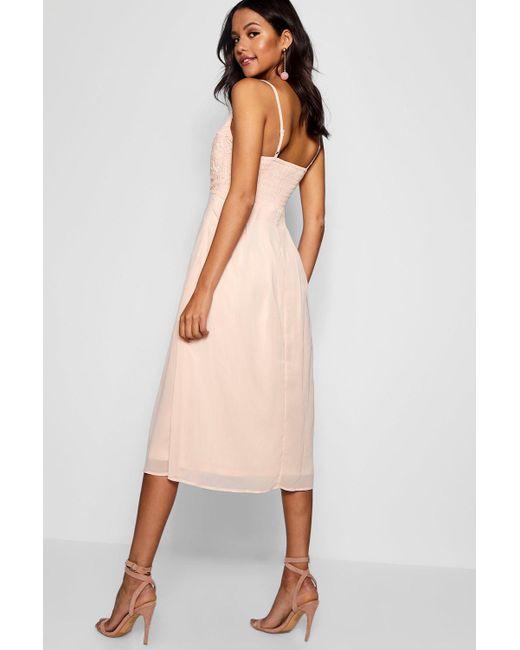 421215b6c480c ... Boohoo - Pink Crochet Lace Top Chiffon Midi Dress - Lyst