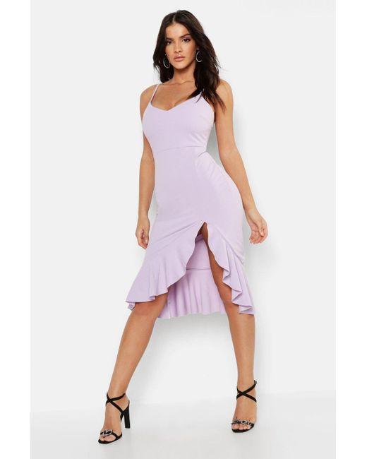 Boohoo - Purple Strappy Frill Hem Midi Dress - Lyst ... eead208e4