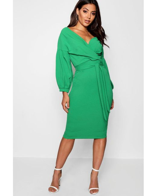 864687ee6082b Boohoo - Green Off The Shoulder Wrap Midi Dress - Lyst ...