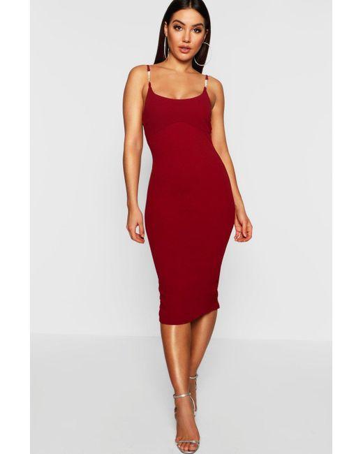 b1c00dbd3ca Boohoo - Red Strap Detail Midi Dress - Lyst ...