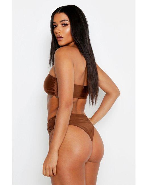 a46dcccca50c2 Lyst - Boohoo Buckle Belt Bandeau Bikini in Brown