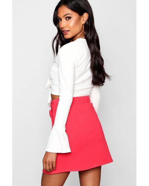 b8a277f096 ... Boohoo - Multicolor Tie Waist Pocket Front Mini Skirt - Lyst