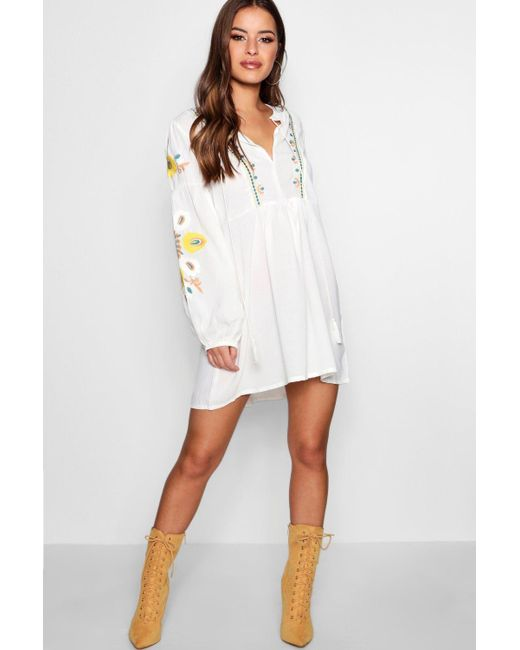 Boohoo - White Petite Heavily Embroidered Smock Dress - Lyst