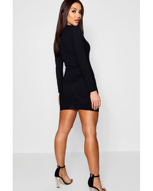 d0df1c357cf ... Boohoo - Multicolor Ribbed Basic Long Sleeve Bodycon Dress - Lyst