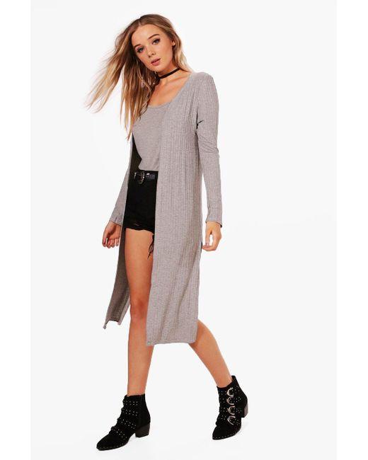 Boohoo | Gray Emily Rib Knit Side Split Maxi Cardigan | Lyst