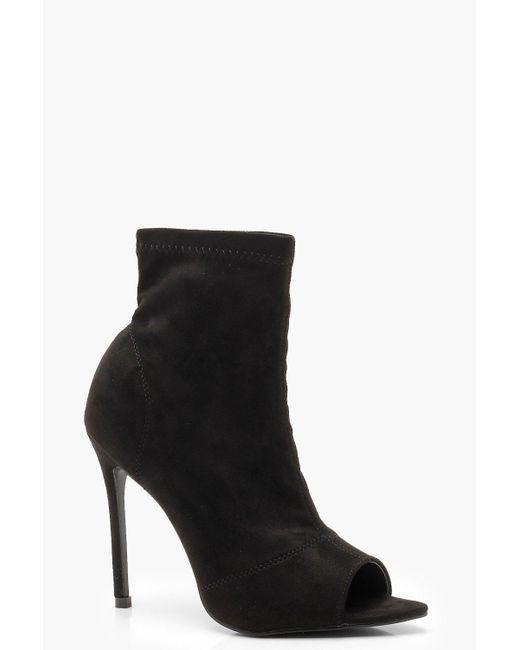Boohoo - Black Peeptoe Pointed Toe Sock Boots - Lyst
