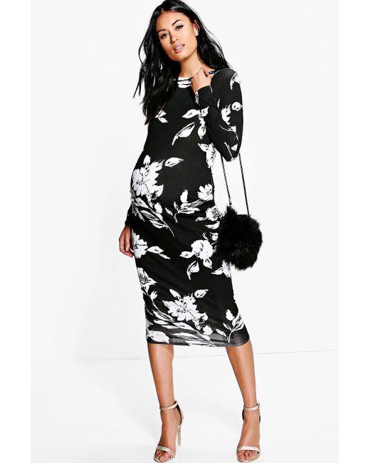3527ad50778e Boohoo - Black Maternity Mono Print Long Sleeve Midi Dress - Lyst ...