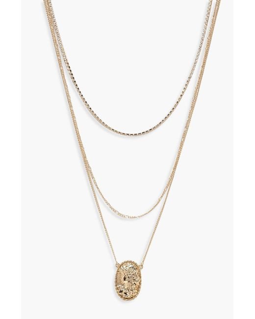 Boohoo - Metallic Locket And Diamante Layered Necklace - Lyst
