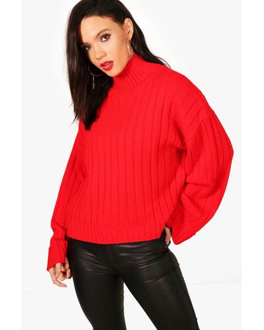 Boohoo - Red Tall Alaina Maxi Wide Sleeve Rib Jumper - Lyst