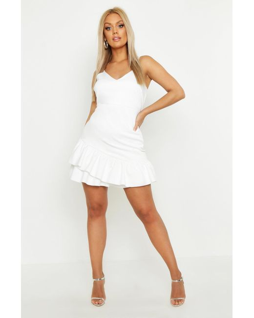 086a03640d9e Boohoo - White Plus Strappy Ruffle Hem Skater Dress - Lyst ...