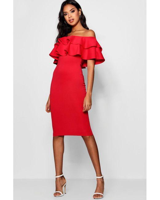 bb5fe35c0dffc Boohoo Bardot Layered Frill Detail Midi Dress in Red - Lyst