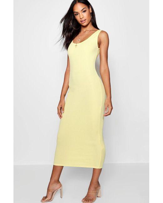 f810123bc6fa Boohoo - Yellow Tall Rib Sleeveless Midi Dress - Lyst ...