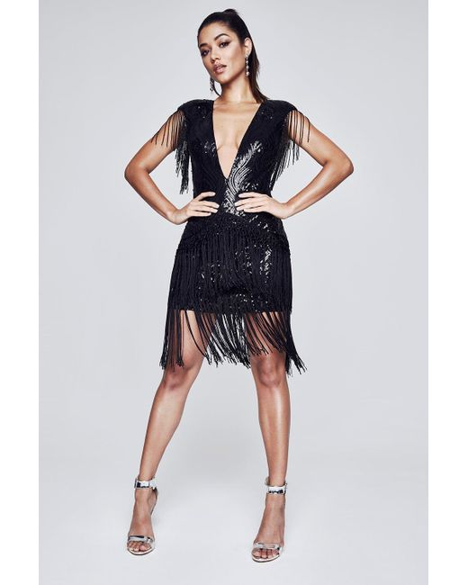 Boohoo   Black Premium Eva Sequin & Tassle Skirt   Lyst