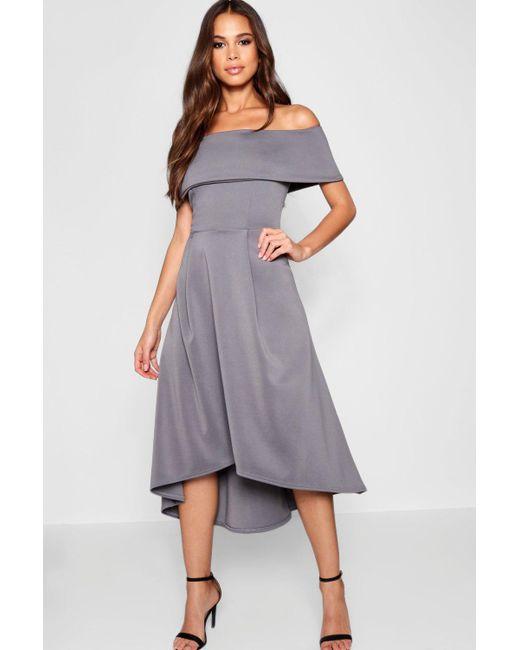a90f987f0a8c Boohoo - Gray Tall Double Layer Midi Dress - Lyst ...