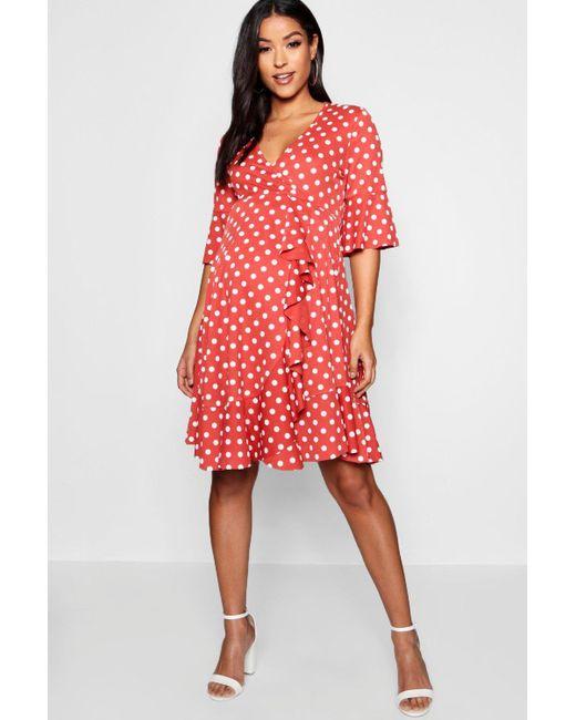 49164e19cd0b9 Boohoo - Red Maternity Spot Frill Wrap Dress - Lyst ...