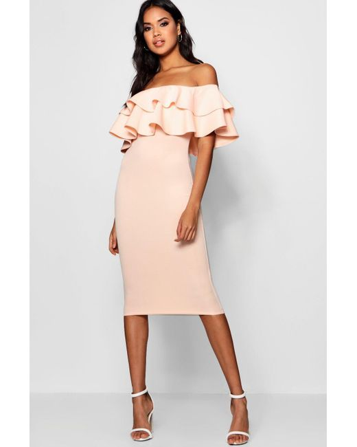 6bf6d044f999 Boohoo - White Bardot Layered Frill Detail Midi Dress - Lyst ...