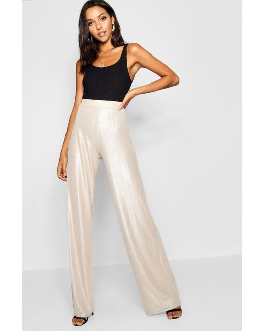 345df76da6f6c Boohoo - Multicolor Tall Metallic Wide Leg Pants - Lyst ...