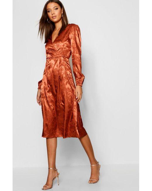 76ed6b8cc47d1 Boohoo - Orange Tall Jacquard Satin Wrap Midi Dress - Lyst ...