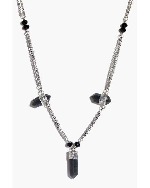 Boohoo | Metallic Ella Multi Crystal Skinny Necklace | Lyst