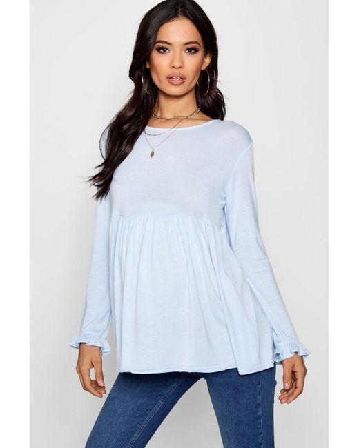Boohoo - Blue Maternity Ruffle Long Sleeve Smock Top - Lyst