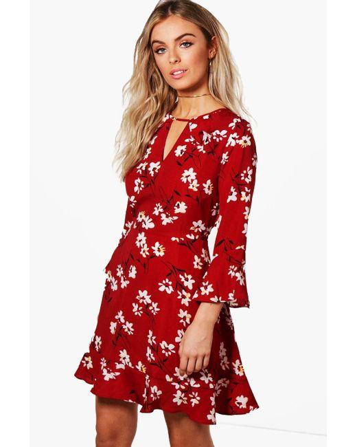 7d92e40da05b8 Boohoo - White Floral Ruffle Tea Dress - Lyst ...