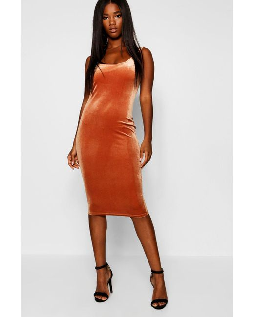 26a467e5728d Lyst - Boohoo Velvet Scoop Neck Bodycon Midi Dress in Orange