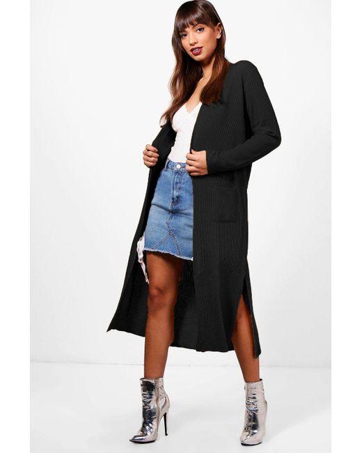 Boohoo - Black Half Rib Sleeve Maxi Cardigan - Lyst