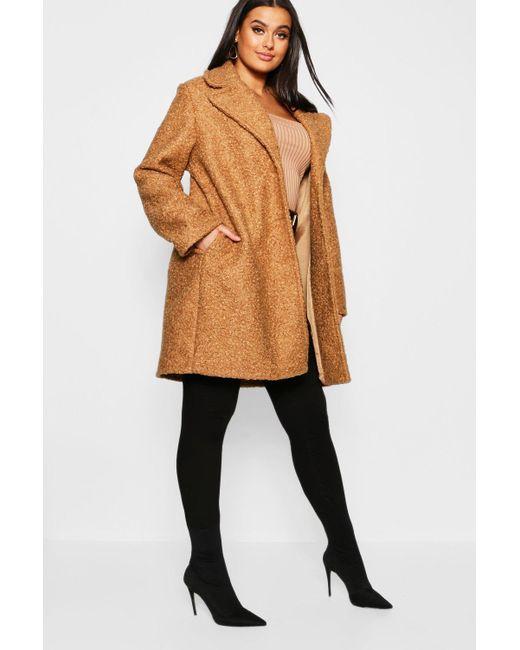 dfd7451afa9 Boohoo - Natural Plus Oversized Faux Fur Teddy Coat - Lyst ...