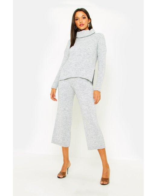 576185199f62e5 Boohoo - Gray Tall Roll Neck Rib Knit Cullotte Co-ord - Lyst ...