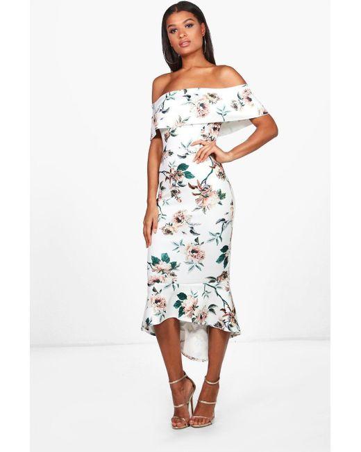7489cbe12ac68 Boohoo - Multicolor Floral Bardot Frill Hem Midi Dress - Lyst ...