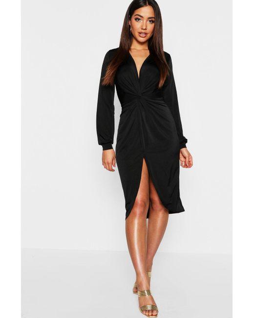 90c52b06bea9 Boohoo - Black Disco Slinky Twist Front Wrap Dress - Lyst ...