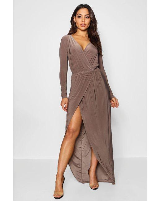 48b40a7fcd4b Boohoo - Multicolor Slinky Wrap Top Maxi Dress - Lyst ...