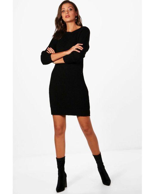 72e0b7e53d10 Boohoo - Black Tall Soft Knit Sweater Dress - Lyst ...