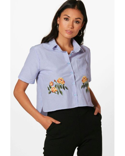 Boohoo | Blue Maisie Stripe Embroidery Crop Shirt | Lyst