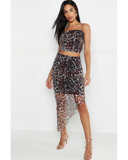 c0f157b4ae Boohoo - Multicolor Tall Leopard Print Mesh Spot Ruched Skirt Co-ord - Lyst  ...