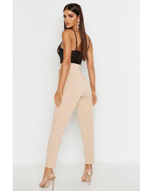 c53b5a3467767 ... Boohoo - Multicolor Button Front Tapered Trouser - Lyst
