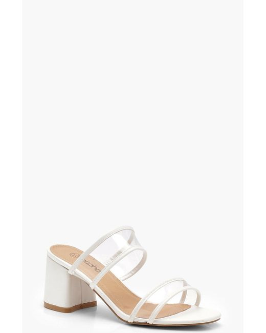 Boohoo - White Double Clear Band Mules - Lyst