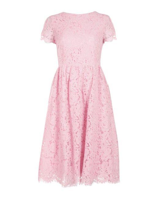 ... Boohoo - Pink Boutique Eyelash Lace Midi Skater Dress - Lyst af44b578c