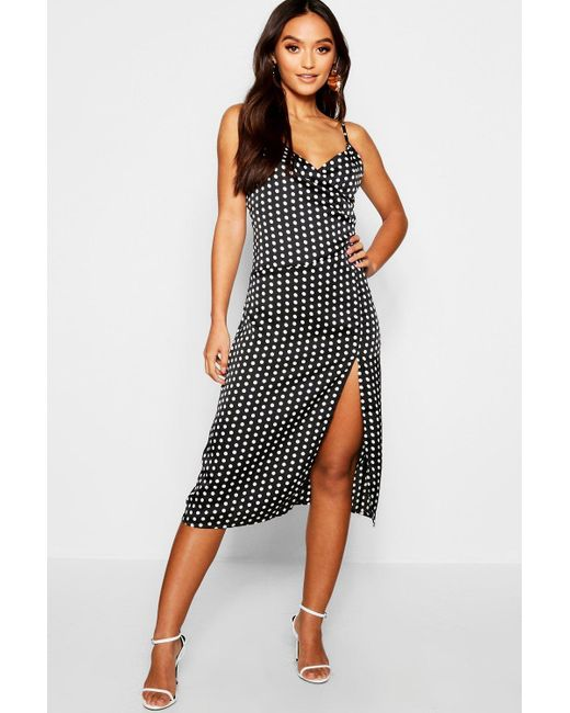 3a7967f8be1a Boohoo - Black Petite Polka Dot Midi Dress - Lyst ...