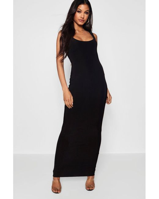 eaa1ee3315fa Boohoo - Black Slinky Square Neck Maxi Dress - Lyst ...