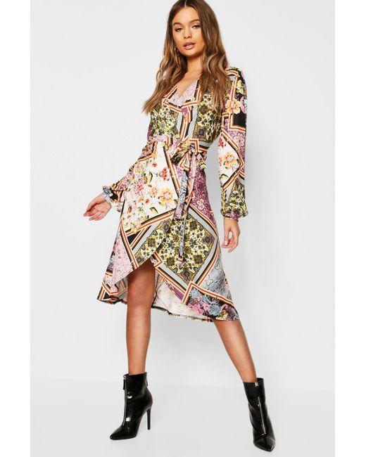 1d2c5e202514 Boohoo - Multicolor Floral Print Wrap Front Midi Dress - Lyst ...