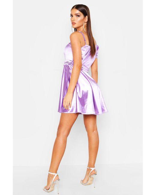4a040e0cd660 ... Boohoo - Purple One Shoulder Pleat Detail Skater Dress - Lyst