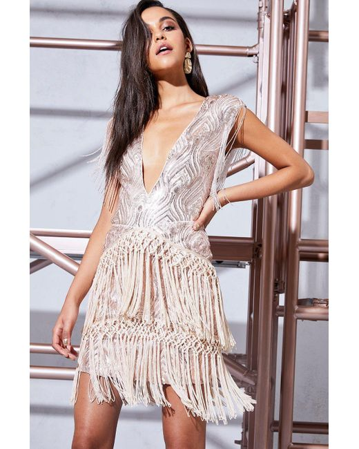 Boohoo   Pink Premium Harriet Sequin & Tassle Skirt   Lyst