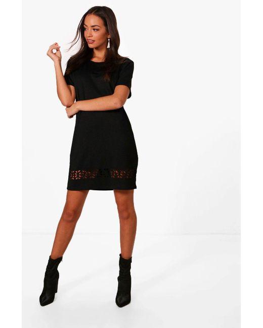 a0a580d7168e Boohoo - Black Laser Cut Shift Dress - Lyst ...