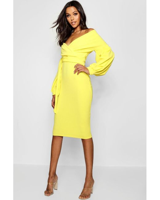 4f7be2c43b06 Boohoo - Yellow Tall Off The Shoulder Wrap Midi Bodycon Dress - Lyst ...