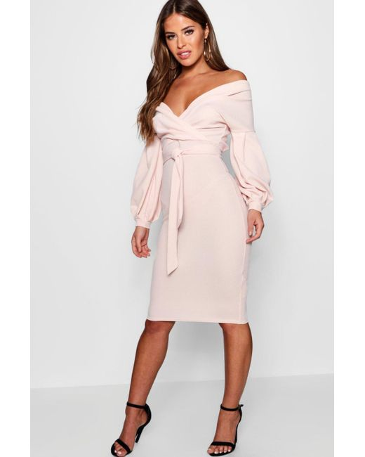 94878fd06d06 Lyst - Boohoo Petite Off The Shoulder Wrap Midi Dress in Pink - Save 60%