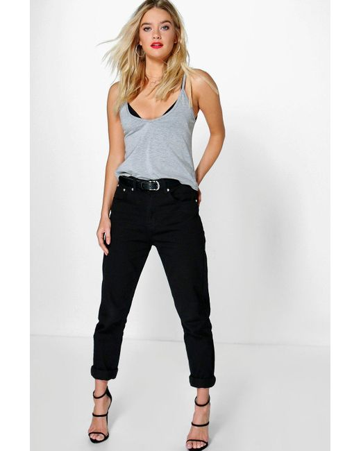 Boohoo - High Waisted Black Boyfriend Jeans - Lyst