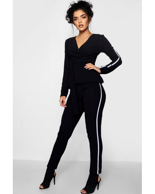 Boohoo - Black Hayley Sports Stripe Belted Trouser Co-ord Set - Lyst