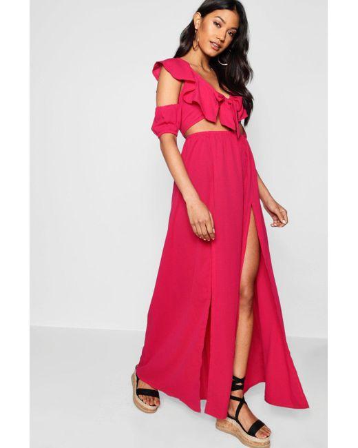 Boohoo - Pink Knot Front Double Split Maxi Dress - Lyst