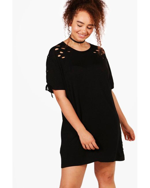 Boohoo | Black Plus Louise Lace Up Shoulder Oversized T-shirt Dress | Lyst
